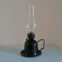 Vintage Paraffin Lamp, Old Oil Lantern. Antique Kerosene Light. Shabby Cottage Chic Home Decor. Hand Held Lamp, glass shade, black metal.
