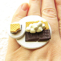 Smores Food Ring Chocolate Marshmallow Graham by SouZouCreations
