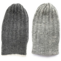 Reversible Alpaca Beanie. Gray and light Gray color. Made In Peru.