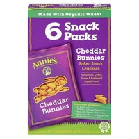 Annie's Homegrown Crackers Cheddar Bunnies Snack Packs - 1 oz each, 6 ct.