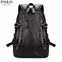 High Quality Practical Leather Mens Backpack Famous Casual Men Laptop Backpack Black School Travel Backpack
