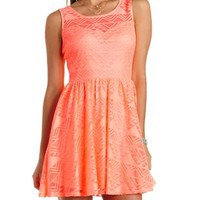 Neon Coral Geometric Lace Skater Dress by Charlotte Russe