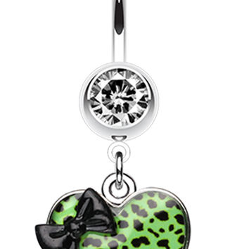 Leopard Pattern Heart Bow Belly Button Ring