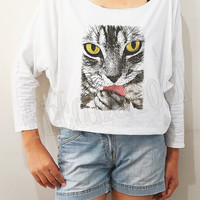 Cat Tongue Shirt I Like Cats Shirt Meow Shirt Animal Shirt Bat Sleeve Shirt Crop Long Sleeve Oversized Sweatshirt Women Shirt - FREE SIZE