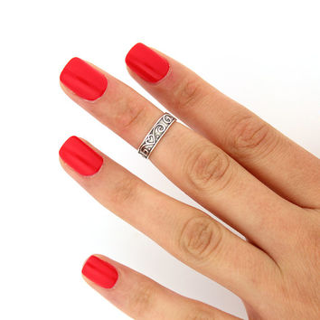 sterling silver knuckle ring curled heart design above knuckle ring adjustable midi ring (T-61) Also Toe ring
