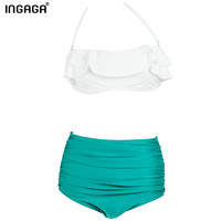 2016 ruffle bikini set high waist swimsuit swimwear women bandeau strappy removable padding summer bathing suits