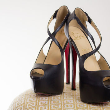 Christian Louboutin Criss Cross Front Leather Platforms