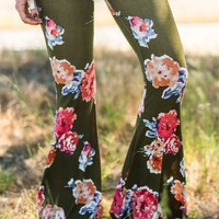 Cher Printed Flare Pants - Olive Floral