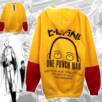 ONE PUNCH MAN Saitama Casual Hoodie Sweatshirt Jacket Top Anime Cosplay Costume coat