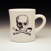 CHEF COOK SKULL CROSSBONES COFFEE CUP SET OF TWO [FPD] - $65.00 : Gorey Details, - Edward Gorey, Tim Burton, Alice, Poe, gothic, horror, halloween, vampire, bats, skull, zombie, dragon, fairy, victorian