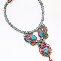 Soutache handmade necklace. Colorful beaded necklace.
