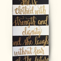 OOFIT Apple iPhone 6 (4.7 inches) Case - Christian Quote She is Clothed with Strength & Dignity She Laughs without Fear of the Future She Speaks Her Words Are Wise and She Gives Instructions with Kindness Proverbs 31:25/ Black and White Stripe