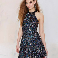 Blue Halter  Backless Sequined  Mini Dress