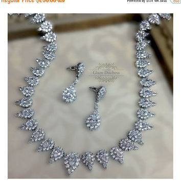 Wedding  jewelry set, bridal jewelry, crystal Necklace earrings , Cubic Zirconia crystal necklace, crystal jewelry set, Formal jewelry set