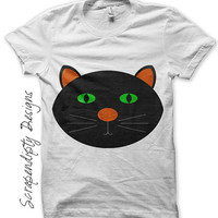 Black Cat Iron on Transfer - Iron on Halloween Shirt / Baby Halloween Outfit / Toddler Black Cat Clothes / Cute Girls Holiday Print IT309-C