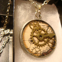 Steampunk Pendant Necklace with Gears Over Vintage Map (1405)