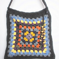 Large Crochet Granny Square Shoulder Purse in Black Multicolor with Floral Print Lining, ready to ship.