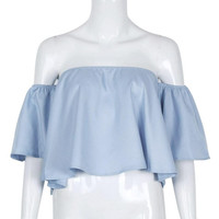Feitong Off Shoulder Women Blouse Flare Sleeve Loose Sexy Strapless Summer Tops 2017 Crop Tops Blusas Feminina#99 SM6