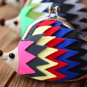 "Color palette hedgehog clutch purse ""Unity"""