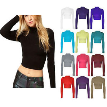 WOMENS POLO NECK CROP LADIES LONG SLEEVE PLAIN POLO SHORT STRETCH TOP SIZ 8-14