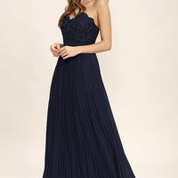 Special Day Navy Blue Lace Strapless Maxi Dress