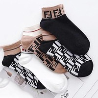 FENDI Popular F Letter Breathable Sport Cotton Socks
