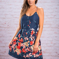 Frenzy Flowers Dress, Navy