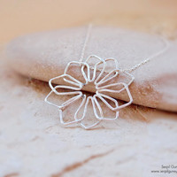 Filigree Necklace - Handmade Snowflake - Sterling Silver -  Artisan Jewelry