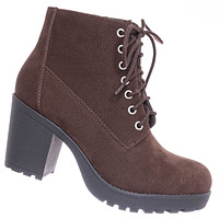Second Lug Sole Block Heel Bootie - Women Threaded Lace Up Combat Ankle Boots