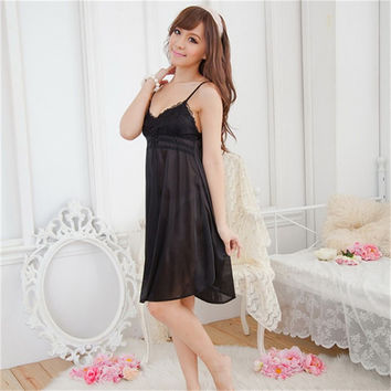 Fashion Women Deep V Silk Nightgowns Clothes Suspender Night Sleepwear Sleepshirts Robes New SM6