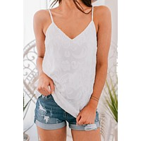 Too Busy Embroidered Tank Top (Off White)