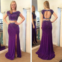 2016 Purple Long Prom Dresses Two Pieces Jewel Short Sleeves Open Back Side Split Party Formal Evening Gowns E68