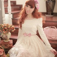 Girls Kawaii Princess Cute Sweet Dolly Gothic Lolita Lace Dress + Pink Belt