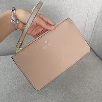 Kate Spade Fashion Simple Zipper Wrist Bag Handbag Wallet Apricot (22 Color)