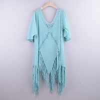 Backless Cover Up With Tassels Sexy V-neck Halter Beach Dress Women Bathing Suit Beachwear