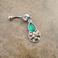 Emerald Green Dangle Belly Button Jewerly