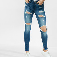 Petite Mid Rise Dark Wash Distressed Stretch Jean Leggings