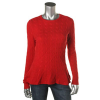 Ralph Lauren Womens Cashmere Cable Knit Pullover Sweater