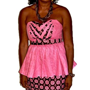 Beach Pink Brown Strapless Peplum African Skirt Set