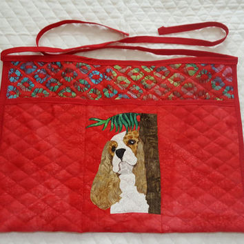 Playful Cavalier King Charles Spaniels Dog Apron for Dog Agility, Dog Obedience, Gardening Apron - Appliqued Quilted in reds