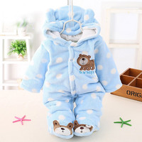 Cute Autumn Winter Cotton Polyester Baby Romper Long Sleeve Coverall Hooded Infant Jumpsuit with Bear Logo One Piece for Toodler