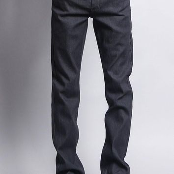 Men's Slim Fit Raw Denim Jeans (Charcoal)
