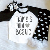 Baby Girl Clothes, Mama's Mini Bestie™ Raglan, Mommy's BFF, Black  Silver Glitter, Optional Leg Warmer Set, Baseball Tee, Baby Shower Gift