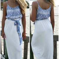 Off The Coast Blue Summer Ivory Skirt Maxi Dress