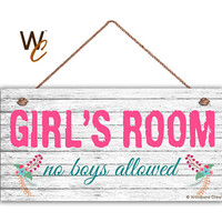 "GIRL'S ROOM Sign, No Boys Allowed, Girl's Room Decor, Nursery, Girl's Door Sign, 5"" x 10"" Sign, Room Plaque, Birthday Gift,  Made To Order"