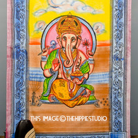 Hippie Ganesh Tapestry, Tapestry Wall Hanging, Bohemian Tapestries, Wall Tapestries, Boho Bed Spread, Hippie Tapestries, Dorm Decor Tapestry