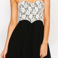 Sweetheart Lace Bra Chest Wrapped Chiffon Dress from styleonline