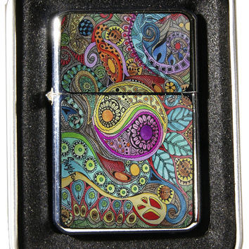 Windproof Customized Chrome Oil Lighter - Psychadelic Yin Yang - Collectable, Refillable, Damn Cool. :)