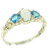 Ladies Solid White 9K Gold Natural Opal & Blue Topaz English Victorian Trilogy Ring - Size 7.5 - Finger Sizes 5 to 12 Available - Ideal gift for Valentines, Mothers Day, Birthday, Christmas, Thanksgiving, Graduation, Confirmation, Easter