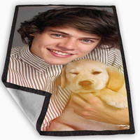 harry styles one direction puppy Blanket for Kids Blanket, Fleece Blanket Cute and Awesome Blanket for your bedding, Blanket fleece *